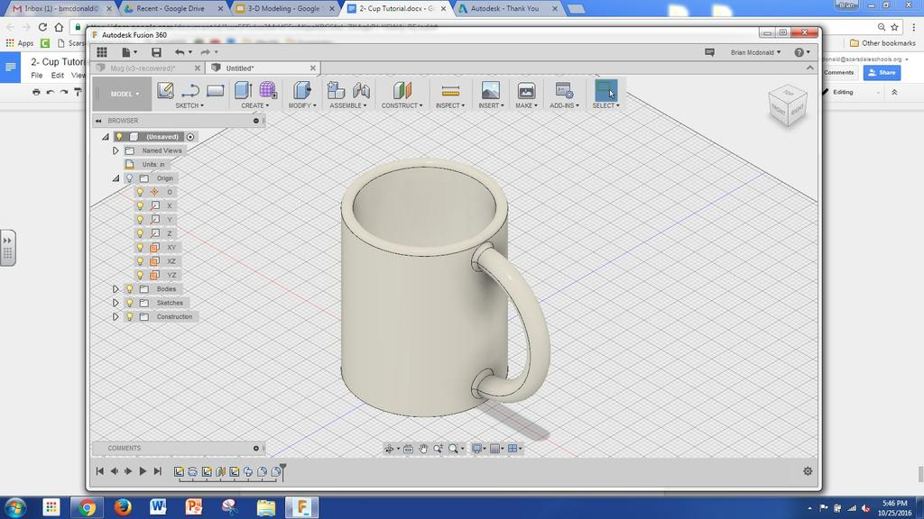 35) Go to the Render tool under the Model menu and click on Appearance. SHS Design Lab 36) Select a proper material for your cup.