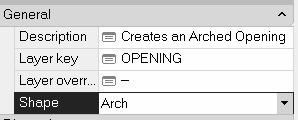 Change the Description to Creates an arched opening object.
