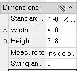 3. Expand the Dimensions section. Set the Standard size to 4-0 x 6-8. Set the Swing angle to 0.