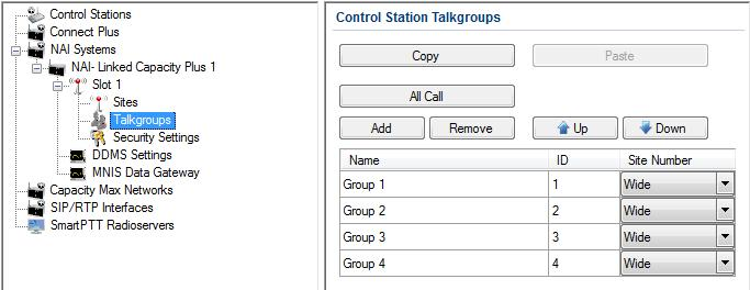 In order to display wide area talkgroups in SmartPTT Dispatcher, add necessary talkgroups in SmartPTT Radioserver Configurator, define talkgroup identifiers that correspond to the