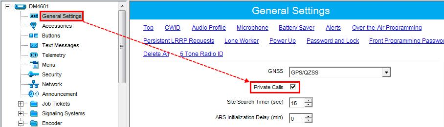 2. When using for dispatcher: In General Settings, select Private Calls.