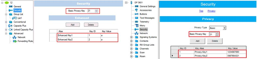 2. In the Security section set the encryption keys that match the keys specified in the radio MOTOTRBO CPS settings. 3.