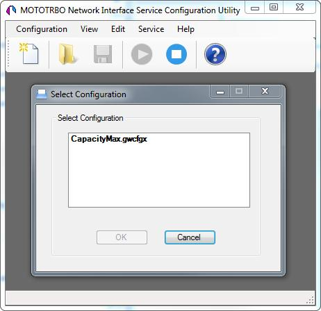 3. Launch MOTOTRBO Network Interface Service Configuration Utility and click Configuration > Select Active Configuration.