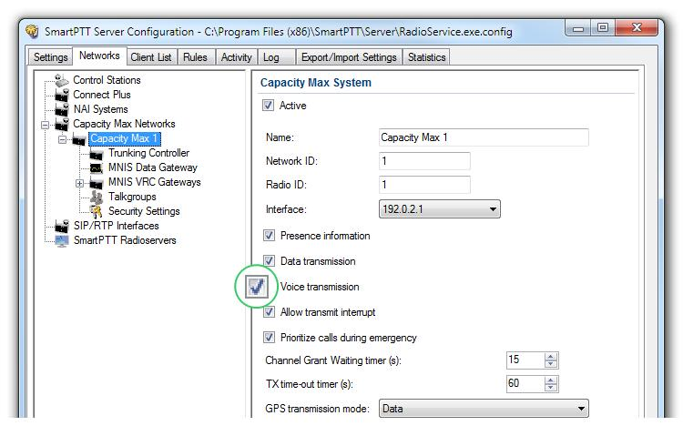 In your Capacity Max network select Voice Transmission to show and allow to