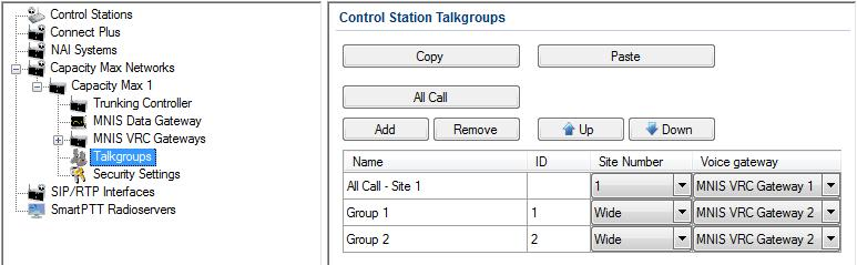 Talkgroups To configure Capacity Max talkgroups, click Talkgroups. At that the following window opens. To add a talkgroup, click Add. To add an All Call, click All Call.