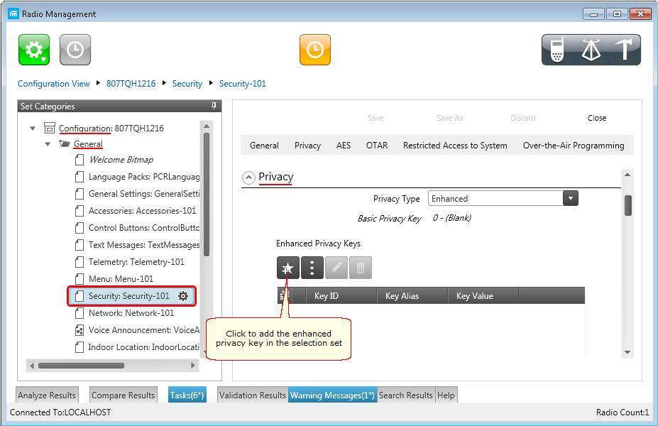Then open the configuration of the required radio station and in the Set Categories menu click General > Security.