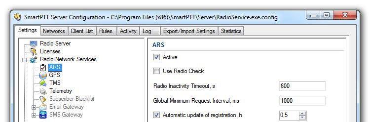 Services ARS ARS or registration service provides information on the availability of radio subscribers in the radio network.