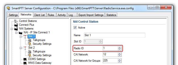 In the Server ID field, enter the radio ID of the IP Site