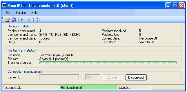 Select file to transmit (File > Select File) and click the Start File Transfer button.