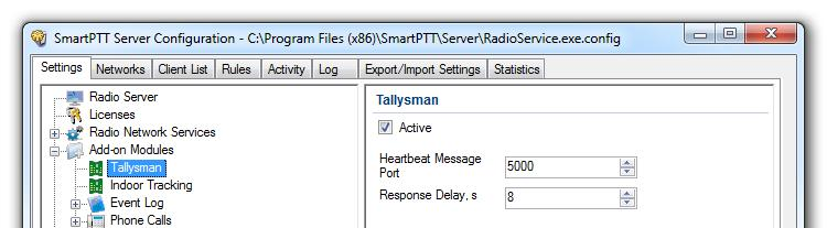To enable Tallysman, click Tallysman in the setting tree of SmartPTT Radioserver Configurator and select the Active check box.