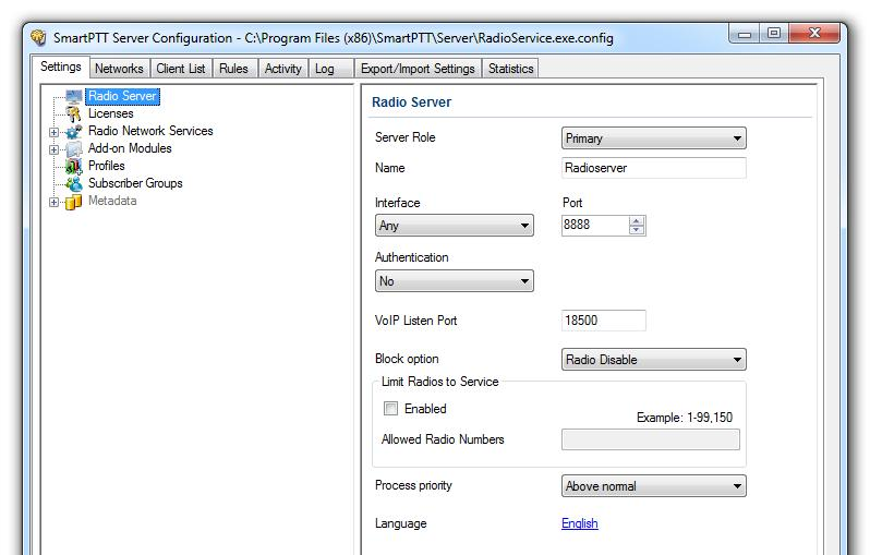 SmartPTT Radioserver Configurator Settings In this tab you can configure the general settings of SmartPTT Radioserver: Radioserver, Licenses, Radio network services, Add-on Modules, Profiles,