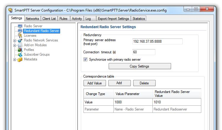 2. Click Redundant Radio Server and in the Redundant Radio Server Settings window configure the required settings.