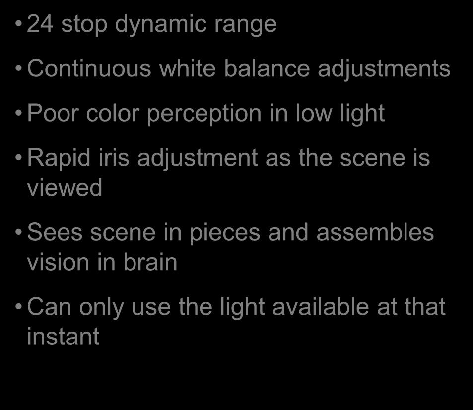 darkness 24 stop dynamic range Continuous white balance adjustments Poor color perception in low light Rapid iris