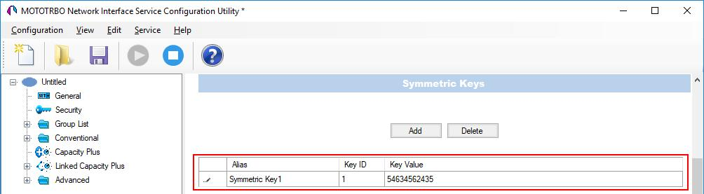 5. 34 In the Security window of MNIS in the Symmetric Keys area, add the AES symmetric