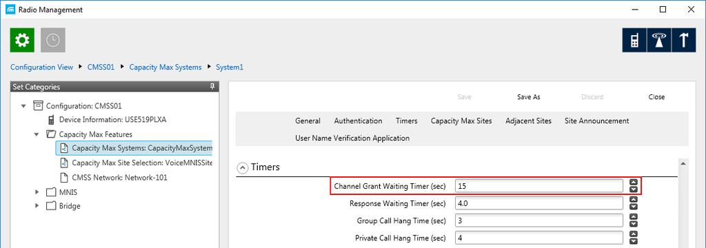 7 Channel Grant Waiting timer (s): Time period in seconds during which the caller expects a response from the called party (the FOACSU strategy).