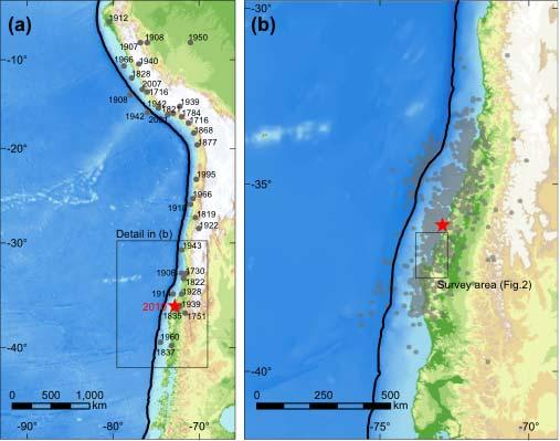 Fig.1 (a) Significant earthquakes of more than M8 since 1700 and the epicenter of the 27 February 2010 Chile earthquake.