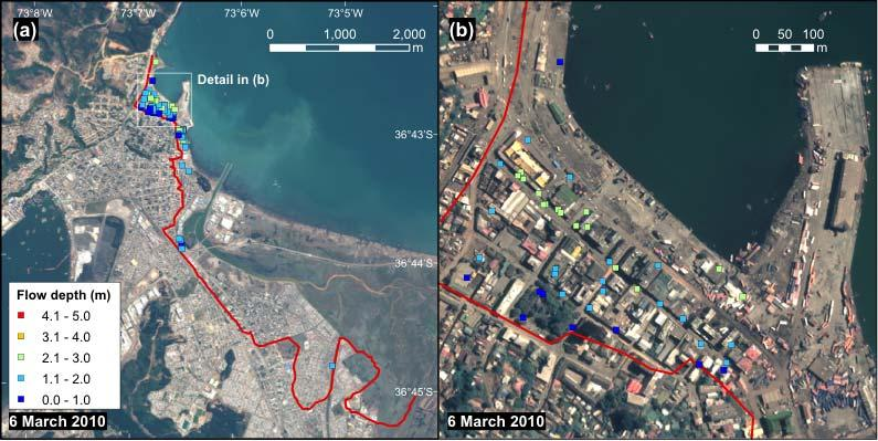 Fig. 6 Result of tsunami flow depth measurement in the town of Talcahuano.