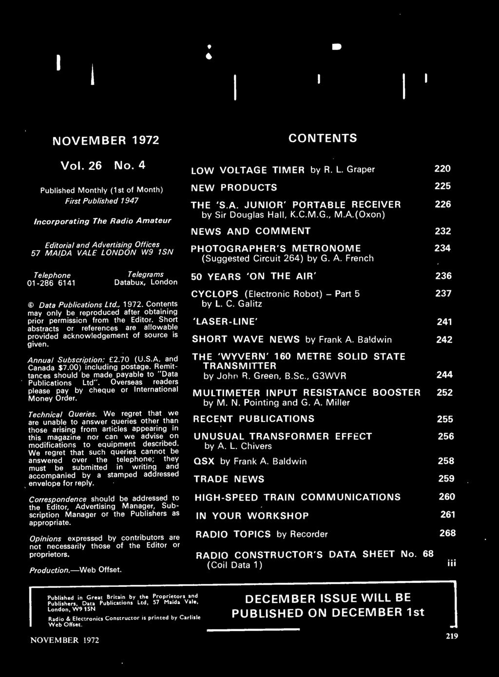 Data Publications Ltd., 1972. Contents may only be reproduced after obtaining prior permission from the Editor. Short abstracts or references are allowable provided acknowledgement of source is given.