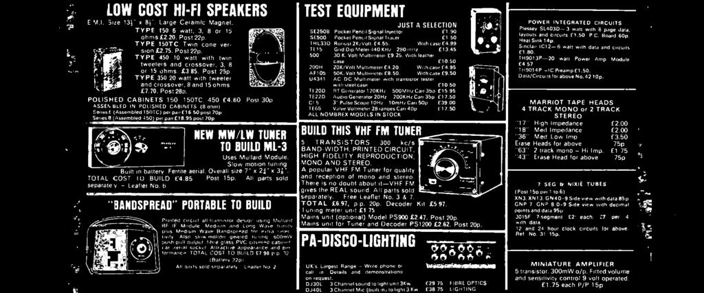 TOTAL COST TU BUILD 485 Post 15p. All parts sold separate y - Leaflet No 6 BANDSPREAD' PORTABLE TO BUILD /. á\ i, HENRY'S RADIO LTD. CATALOGUE we.