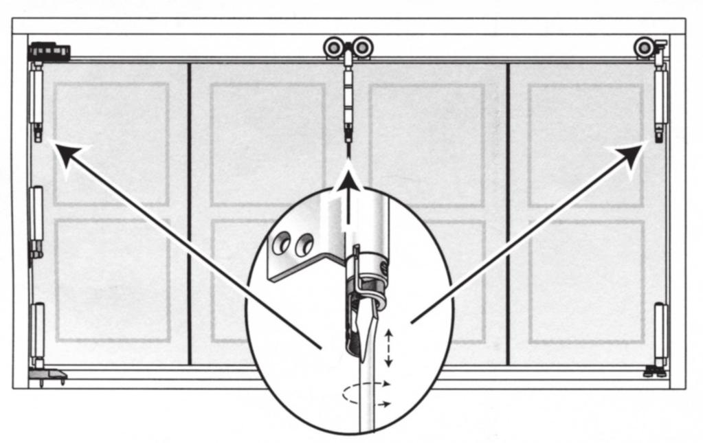 Door Adjustments: After the door is fully assembled and installed adjust your door to achieve easy operation. Vertical Height Adjustments.