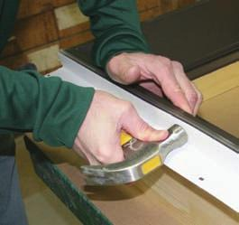 Fasten the pre-drilled side jambs to the sill using five #8 x 3 screws on each side of the