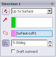 Create a lofted construction surface through these curves. To do this, activate the Surfaces toolbar and then select lofted surface.