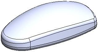 Add a 3mm fillet to the bottom edge and a 5mm fillet to the top curved edge. This is the master which defines the overall shape of the mouse.