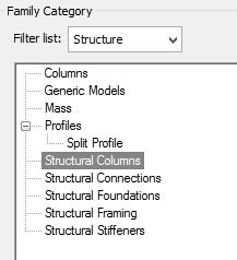 Activate the Create ribbon. Select the Family Categories tool. 55. Select Structural Columns.