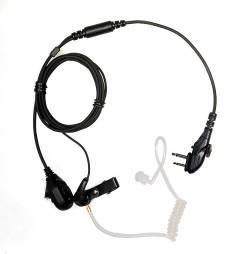 Earbud with on-mic PTT D-earset
