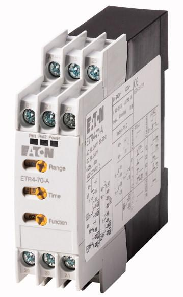 DATASHEET - ETR4-70-A Delivery program Timing relay, 2W, 0.05s-100h, multi-function, 24-240VAC/DC, potentiometer connection Part no. ETR4-70-A Catalog No. 031888 Eaton Catalog No.