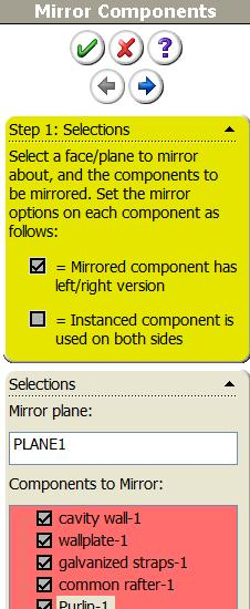 Select the various parts under components