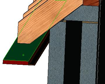 the soffit with the underside of the rafter.