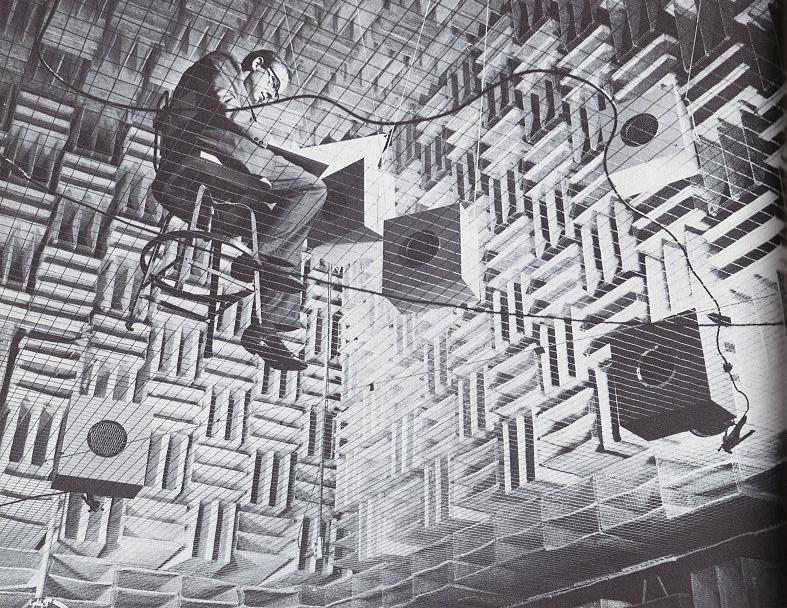 anechoic chamber at Bell Labs rectangular room (6.7m x 6.1m x 2.9m). reverberation time of approximately 130 ms.