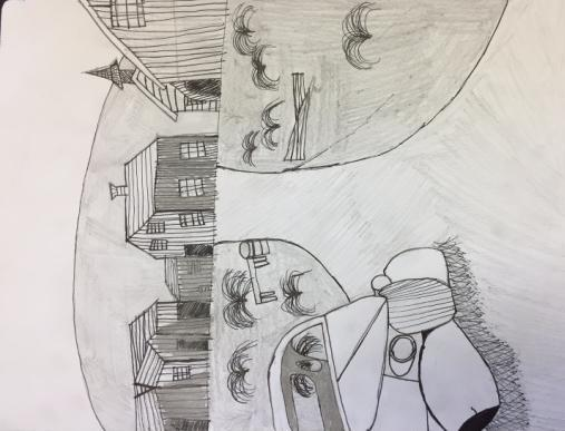 Eighth Grade American Landmarks Eighth graders selected a famous American landmark to sketch in pencil.