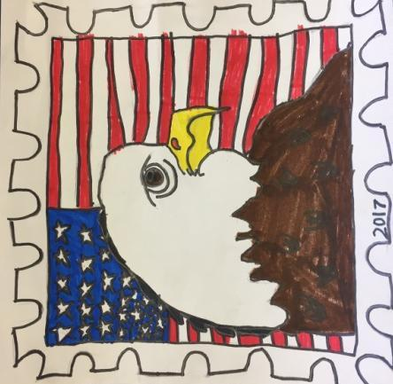 First Grade Eagle Stamp First graders learned about the history and variety of postage stamps in the United States.