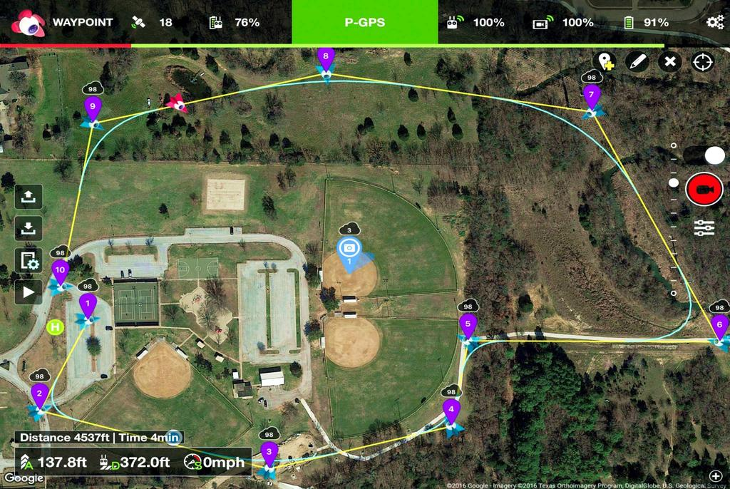 RC BATTERY FLIGHT MODE/STATUS FLIGHT BATTERY ZOOM TO MOBILE DEVICE Waypoint Mode PROGRAM SETTINGS FLIGHT MODE & RECORD SCREEN PHOTO/VIDEO SELECT DOWNLINK UPLINK SATELLITE COUNT ADD POINT OF INTEREST