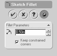 The five corners of the gasket are sharp and need to be rounded. This can easily be accomplished using the fillet editing command. Click the Fillet icon (round corner symbol) on the sketching toolbar.
