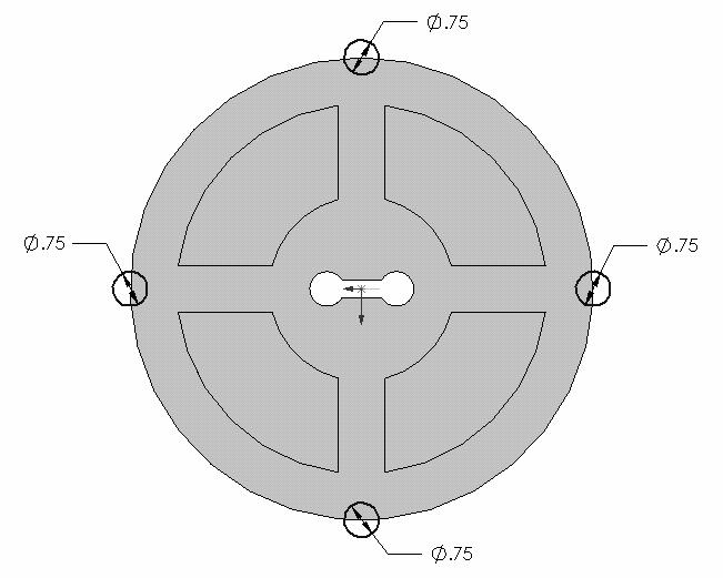 The centers should be on the perimeter and aligned with the origin. The diameter of all four circles should be 0.75, as shown in Figure 1-30. Now pull down Insert, select Cut, and then Extrude.