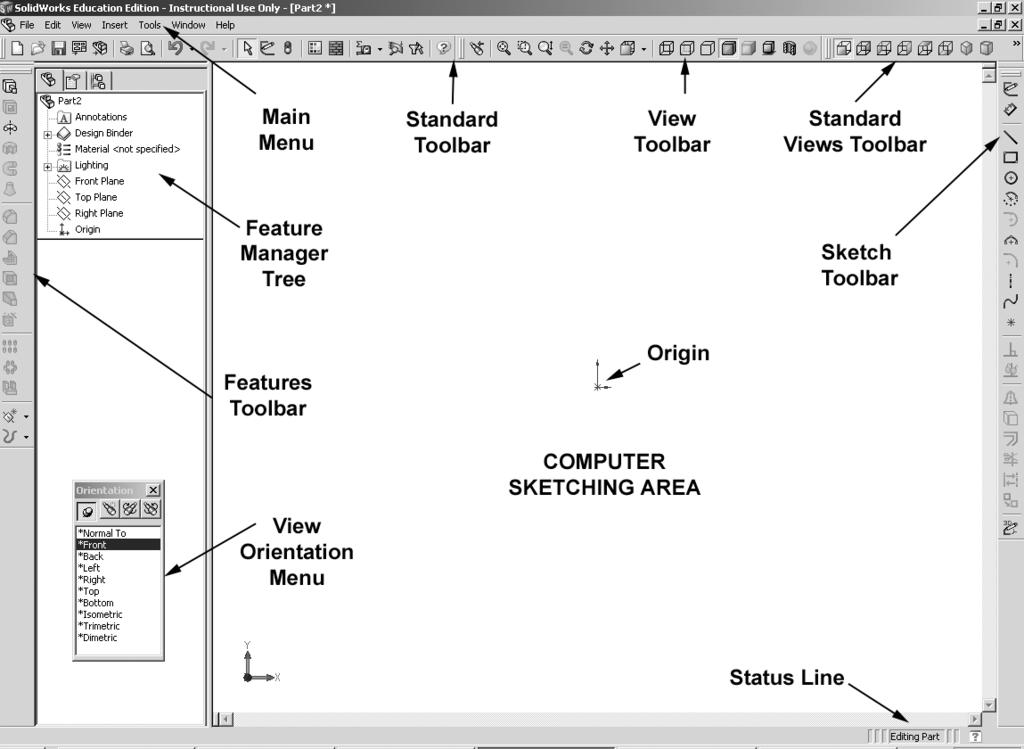 THE SOLIDWORKS SCREEN LAYOUT Figure 1-2. Starting a New Part in SolidWorks.