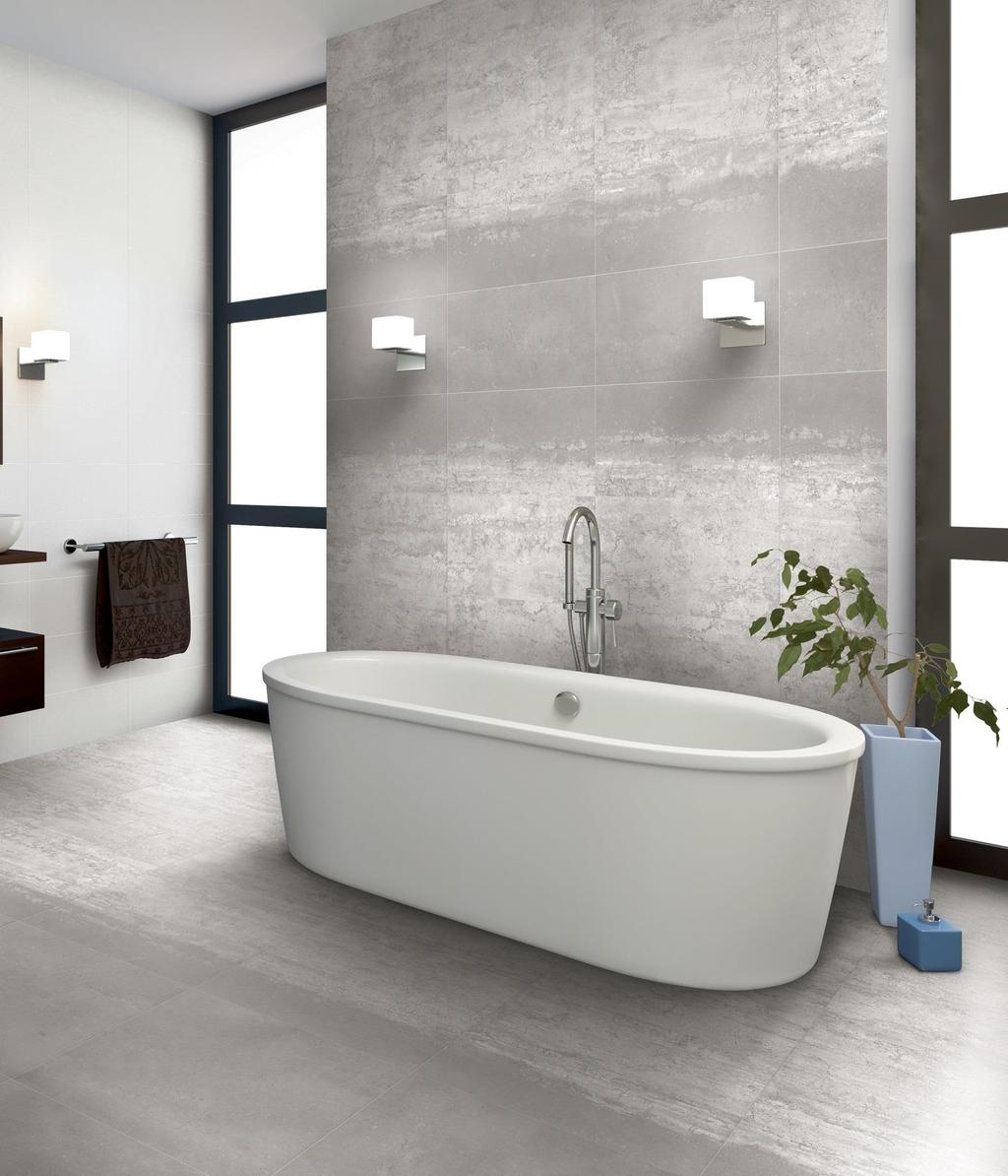 "STONEWAY PORCELAIN TILE The Stoneway Collection is offered in a 12"" x 24"" and 2"" x 2"" mosaic in three colors."