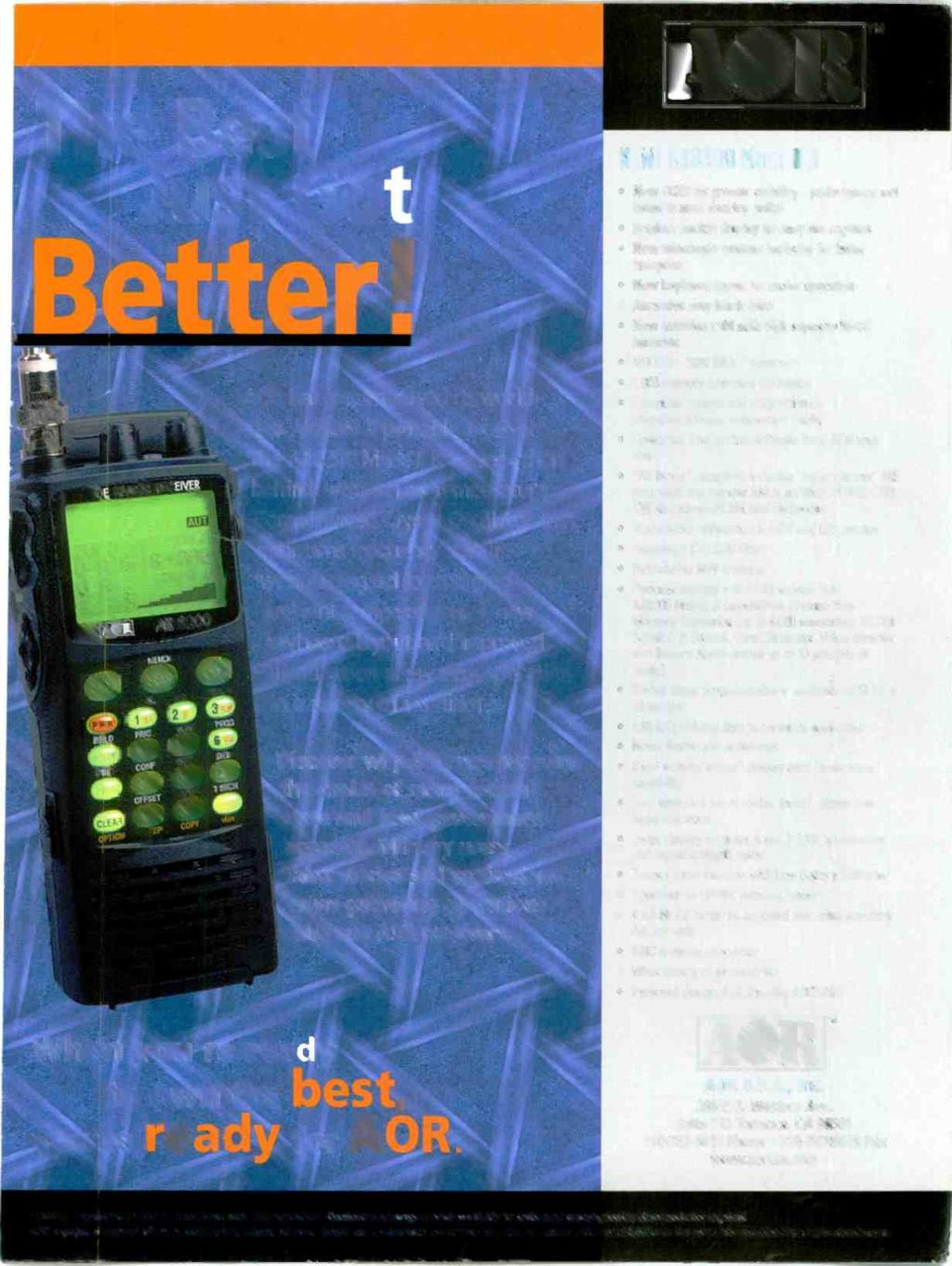 TM The Best Just,Got Bettart f0;4ge RECENER AOR has just imp-oved its world- \ class AR8200 B portable receiver.