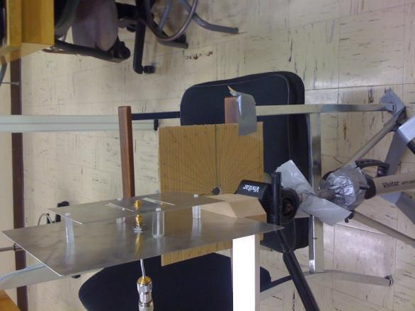 Figure 4 Setup of the radiation measurement with the transmitting antenna in the background.