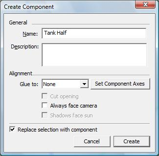 A new window called Create Component