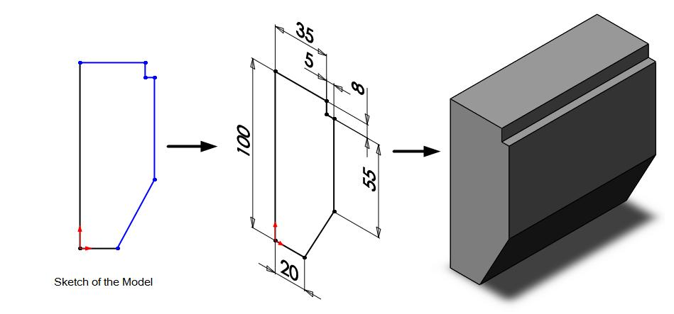 2.16 Chapter 2 > Drawing Sketches with SOLIDWORKS 12. Similarly, draw the remaining sketch entities. The Figure 2.26 shows the sketch after completing all the sketch entities.