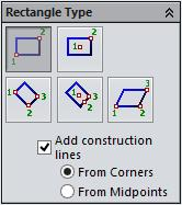 2.26 Chapter 2 > Drawing Sketches with SOLIDWORKS Rectangle Type The buttons available in the Rectangle Type rollout of the PropertyManager allows you to switch different method of drawing rectangle