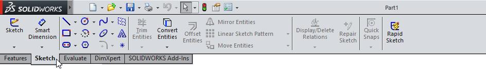 2.4 Chapter 2 > Drawing Sketches with SOLIDWORKS Invoking the Sketching Environment Once the Part modeling environment is invoked, you need to start with creating design by first drawing the sketch