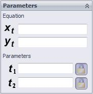 115 When the Explicit radio button is selected, you can define the equation for Y as the function of x in the Yx field of the Equation area in the Parameters rollout.