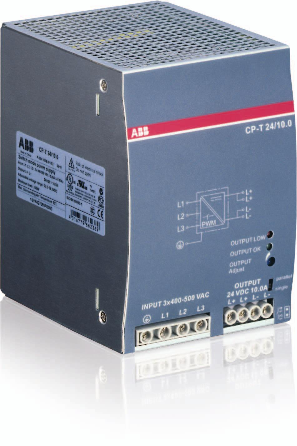 Data sheet Power supply CP-T 24/10.0 Primary switch mode power supply The CP-T range of three-phase power supply units is the youngest member of ABB s power supply family.