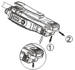 Uninstalling the Battery For detaching the battery, push downward the battery latch1 at the radio bottom and then push