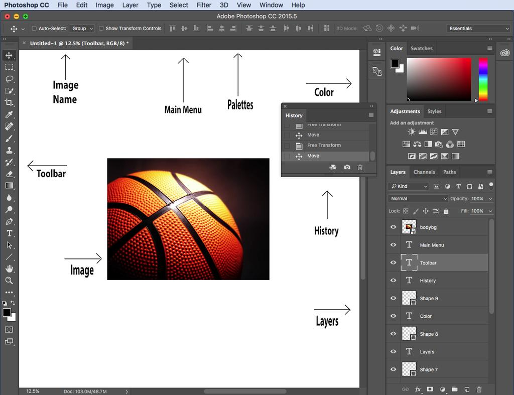 2. Interface Layout Figure 3. This is the layout of Adobe Photoshop interface.